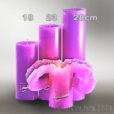 Lotuskerze violett 18cm