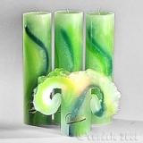 Lotuskerze Aquarell Grün Töne 28cm