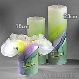 Lotuskerze ART green lilac 18cm